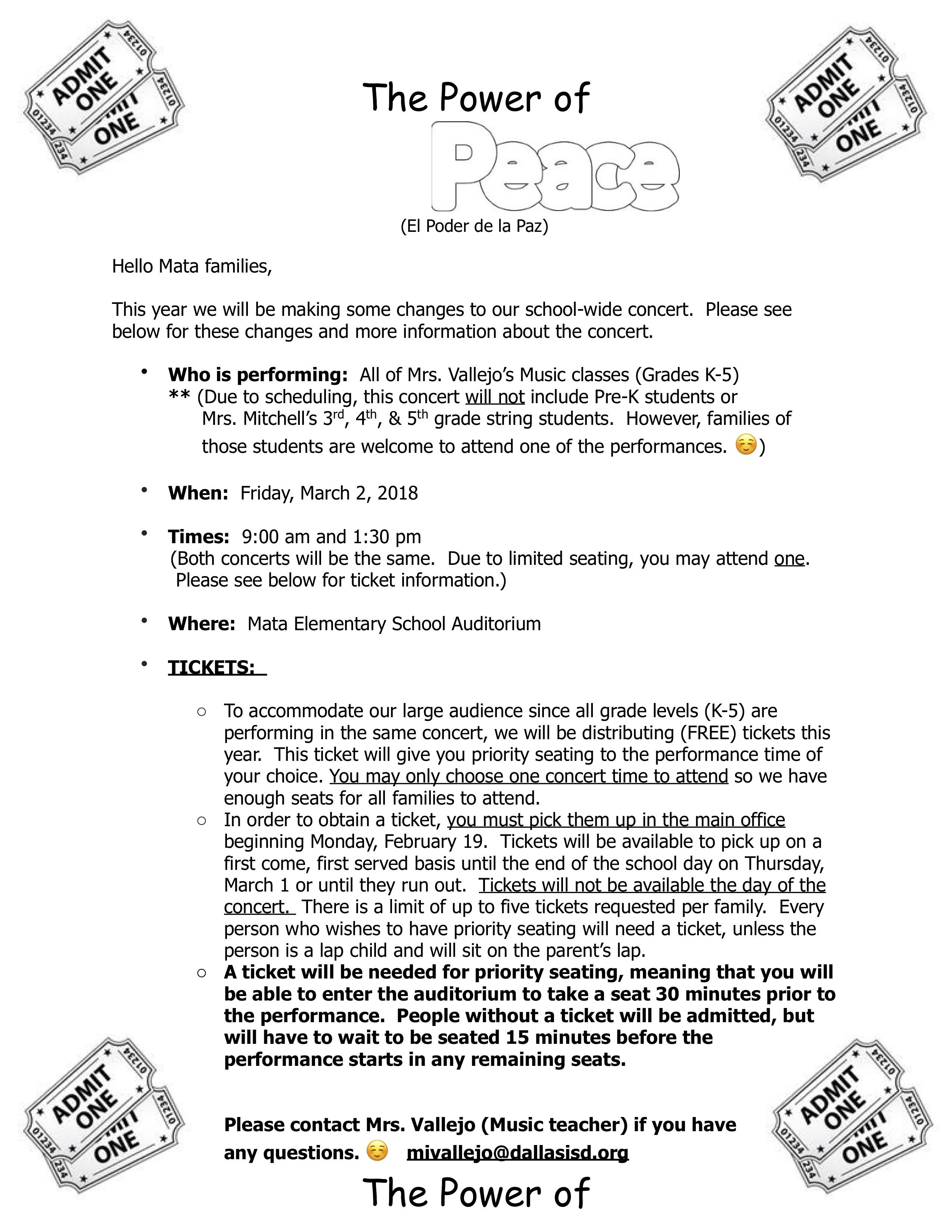 Power of Peace Performances (9:00am and 1:30pm) @ Mata Montessori Auditorium