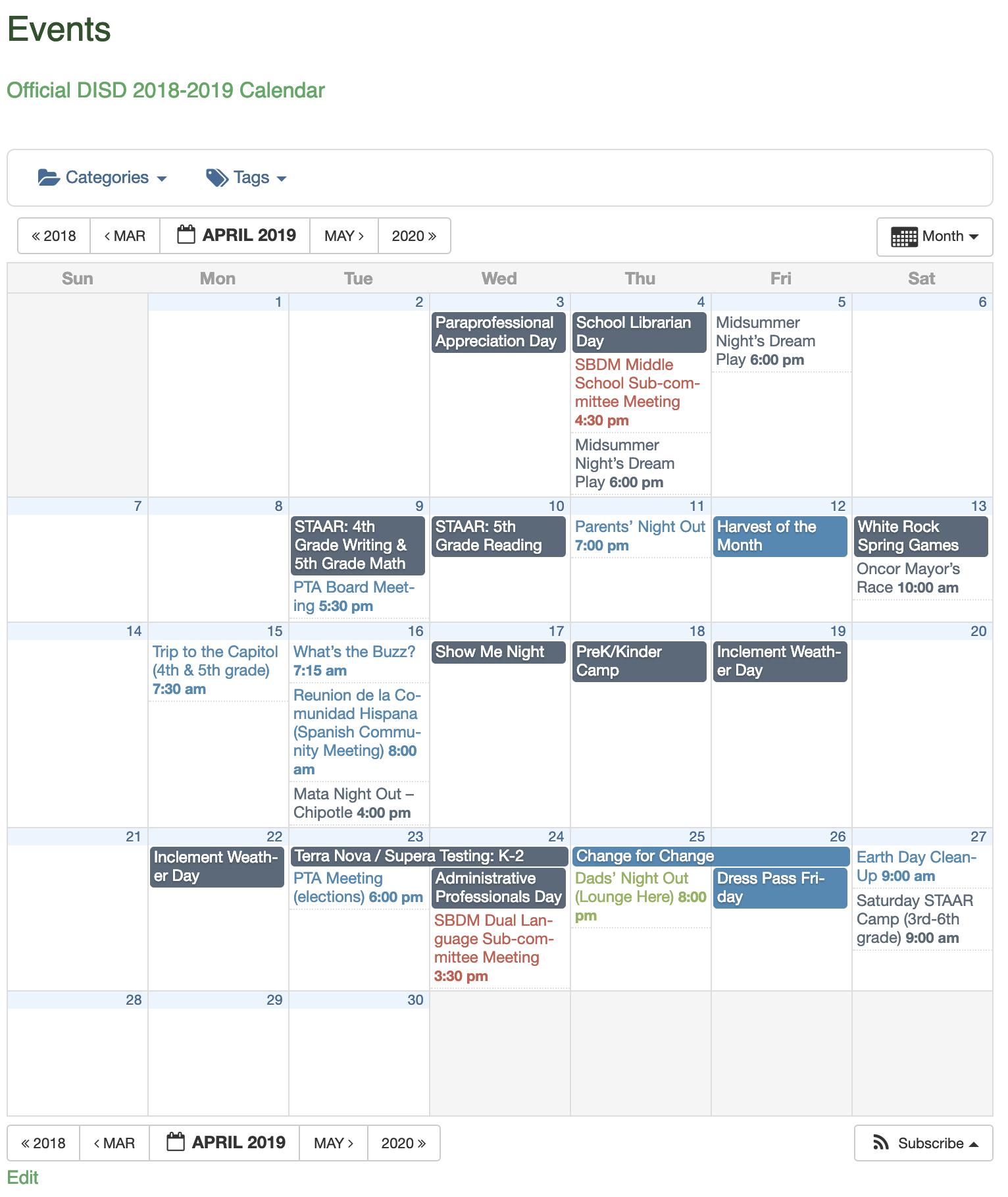 Full calendar of events >